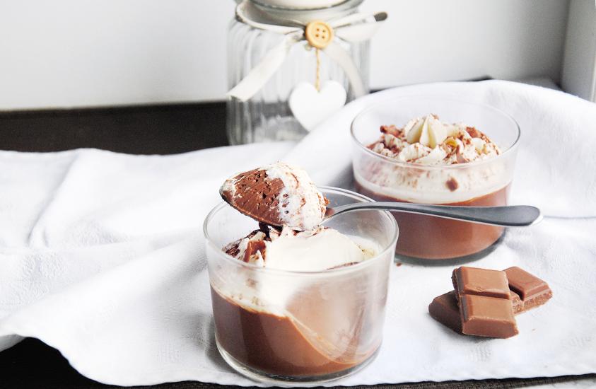 Crèmes au chocolat noir & ganache au chocolat blanc